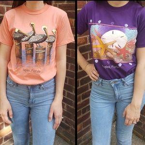 2 Vintage Naples Florida Souvenir T-Shirts